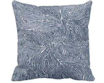"OUTDOOR Sulcata Geo Throw Pillow or Cover Navy & White 14, 16, 18, 20, 26"" Sq Pillows/Covers Blue Abstract Geometric/Tribal/Lines/Wavy Print"