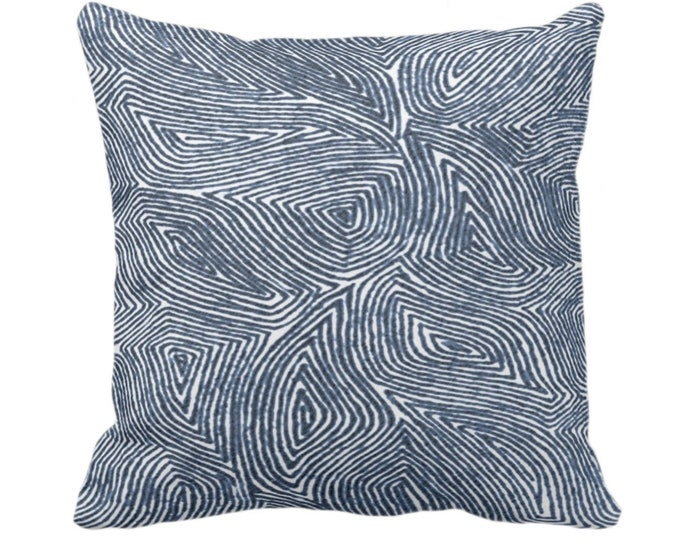 """OUTDOOR Sulcata Geo Throw Pillow or Cover Navy & White 14, 16, 18, 20, 26"""" Sq Pillows/Covers Blue Abstract Geometric/Tribal/Lines/Wavy Print"""