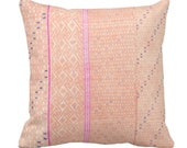 Chinese Wedding Blanket Printed Throw Pillow or Cover, Peach 14, 16, 18, 20 quot Sq Pillows or Covers, Thai Embroidered, Pink