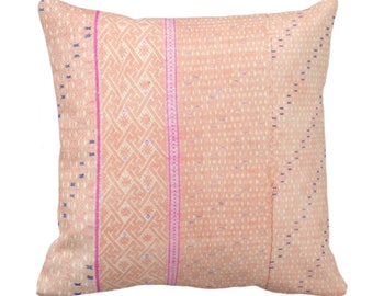 """Chinese Wedding Blanket PRINTED Throw Pillow or Cover, Peach 14, 16, 18, 20"""" Sq Pillows or Covers, Thai/Hmong/Maio Vintage Print, Pink"""