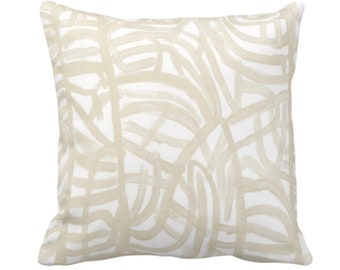 """Avant Throw Pillow or Cover, White/Cream 14, 16, 18, 20 or 26"""" Sq Pillows/Covers, Ivory Painted Abstract Modern/Geometric/Geo/Lines Print"""
