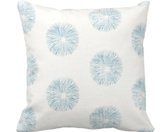 SALE/READY 2 SHIP Sea Urchin Throw Pillow Cover, Off-White/Teal 20 Sq Pillow Covers, Dusty Blue/Green Modern/Starburst/Geometric Print