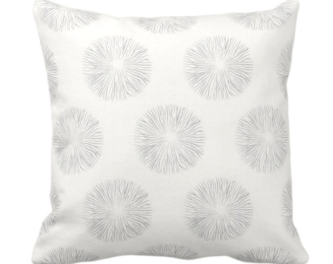 """Sea Urchin Print Throw Pillow or Cover, Smoke/Off-White 14, 16, 18, 20 or 26"""" Sq Pillows or Covers, Gray/Grey Modern/Abstract/Starburst/Geo"""