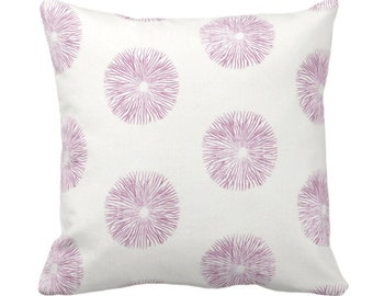 """Sea Urchin Throw Pillow or Cover, Off-White/Plum 14, 16, 18, 20, 26"""" Sq Pillows/Covers, Dusty Purple/Pink Modern/Starburst/Geometric Print"""