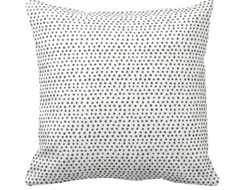"""Allover Dots Throw Pillow or Cover, Black & Ivory Print 14, 16, 18, 20, 26"""" Sq Pillows or Covers, Gray/Ebony/Off-White Scatter Dot/Geometric"""
