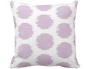 "Ikat Dot Throw Pillow or Cover, Lavender/White 14, 16, 18, 20 or 26"" Sq Pillows or Covers, Light Purple Scribble/Dots/Circles Print/Pattern"