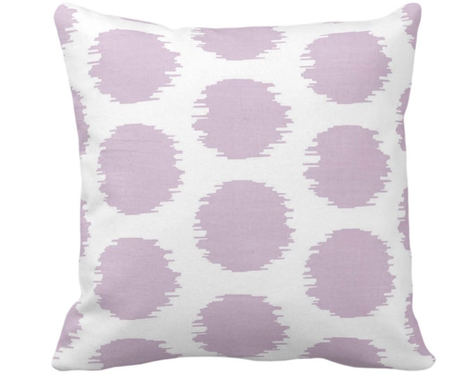 """Ikat Dot Throw Pillow or Cover, Lavender/White 14, 16, 18, 20 or 26"""" Sq Pillows or Covers, Light Purple Scribble/Dots/Circles Print/Pattern"""