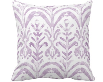 "Watercolor Print Throw Pillow or Cover, Lavender/White 14, 16, 18, 20 or 26"" Sq Pillows or Covers, Hand-Dyed Effect, Light/Dusty Purple Ikat"