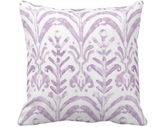 """Watercolor Print Throw Pillow or Cover, Lavender/White 14, 16, 18, 20 or 26"""" Sq Pillows or Covers, Hand-Dyed Effect, Light/Dusty Purple Ikat"""