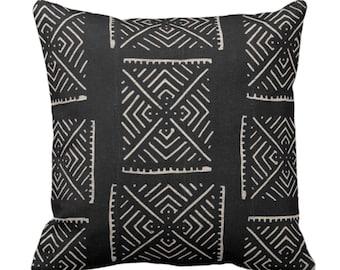 "OUTDOOR Mud Cloth Print Throw Pillow or Cover, Diamond Geo Black/Off-White 14, 16, 18, 20, 26"" Sq Pillows/Covers, Mudcloth/Boho/X/Tribal"