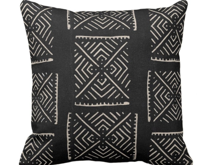 "OUTDOOR Mud Cloth Print Throw Pillow or Cover, Diamond Geo Black/Off-White 14, 16, 18, 20, 26"" Sq Pillows/Covers, Mudcloth/Boho/X/Tribal"