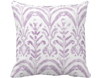 "OUTDOOR Watercolor Print Throw Pillow or Cover, Lavender/White 14, 16, 18, 20, 26"" Sq Pillows/Covers Painted/Boho/Tribal Light Purple Ikat"