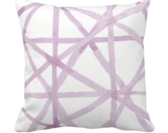 "Painted Lines Throw Pillow or Cover, White/Amethyst 14, 16, 18, 20, 26"" Sq Pillows/Covers, Purple Modern/Starburst/Geometric/Abstract Print"