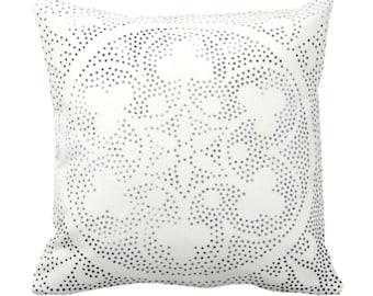 "Batik Medallion Print Throw Pillow or Cover, Off-White/Gray/Black 14, 16, 18, 20, 26"" Sq Pillows/Covers, Floral/Geo/Boho/Tribal/Hmong/Design"