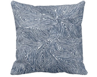 "READY 2 SHIP Sulcata Geo Throw Pillow Cover, Navy & White 20"" Sq Covers, Dark Blue Abstract Geometric/Tribal/Lines/Wavy/Boho"