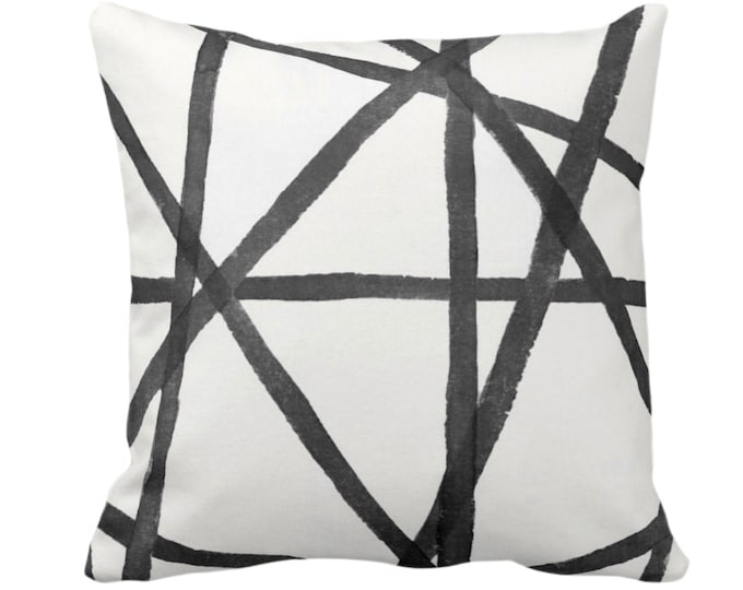"Hand-Painted Lines Throw Pillow or Cover, Charcoal/White 14, 16, 18, 20 or 26"" Sq Pillows or Covers, Black/Gray Channels/Stripes/Lines/Print"