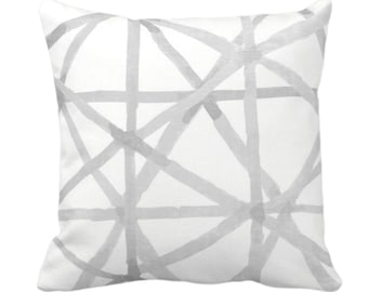 """Painted Lines Throw Pillow or Cover, White/Smoke 14, 16, 18, 20, 26"""" Sq Pillows/Covers, Gray Modern/Starburst/Geometric/Geo/Abstract Print"""