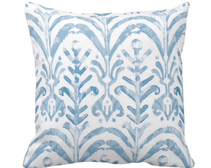 "Watercolor Print Throw Pillow or Cover, Dusty Blue/White 14, 16, 18, 20, 26"" Sq Pillows/Covers, Hand-Dyed Effect, Light/Sky/Turquoise Ikat"