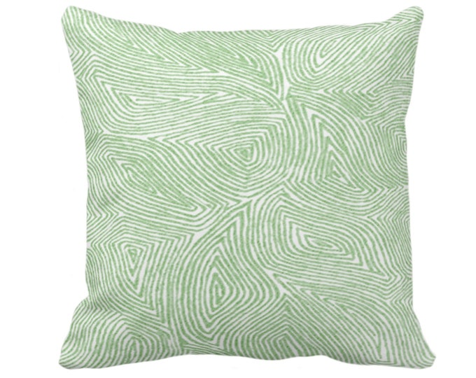 """Sulcata Geo Throw Pillow or Cover, Cactus Green & White 14, 16, 18, 20, 26"""" Sq Pillows/Covers, Abstract Geometric/Tribal/Lines/Wavy Pattern"""