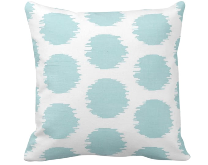 """OUTDOOR Ikat Dot Throw Pillow or Cover, Soft Teal/White 14, 16, 18, 20 or 26"""" Sq Pillows/Covers Blue/Green Dots/Spots/Spot Print/Pattern"""