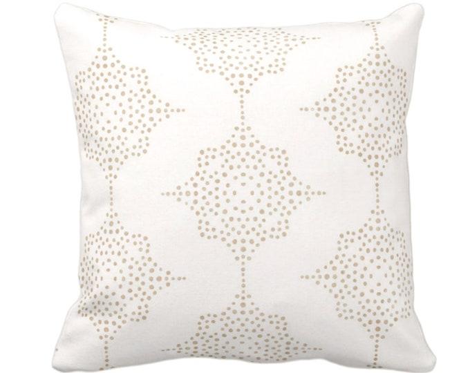 "Block Print Stars Throw Pillow or Cover, Camel & Ivory 14, 16, 18, 20, 26"" Sq Pillows or Covers, Beige Blockprint/Boho/Geometric/Star Print"