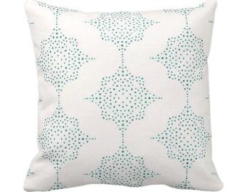 "Block Print Stars Throw Pillow/Cover, Teal & Ivory 14, 16, 18, 20, 26"" Sq Pillows/Covers, Blue/Green Wood/Blockprint/Geometric/Star Pattern"