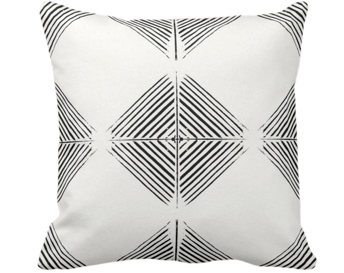 "OUTDOOR Tribal Diamond Geometric Throw Pillow or Cover, Black/Off-White Print 14, 16, 18, 20 or 26"" Sq Pillows/Covers, Geo/Triangles/Modern"
