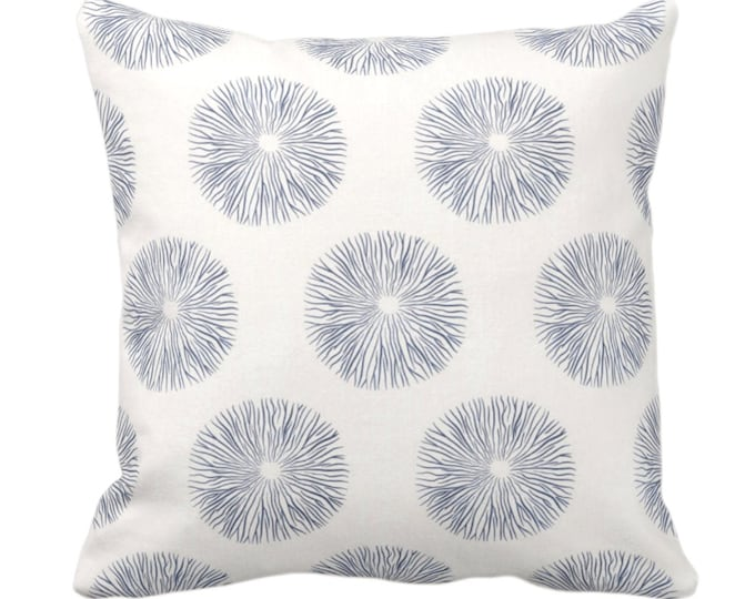 """Sea Urchin Throw Pillow or Cover, Navy/Off-White 14, 16, 18, 20 or 26"""" Sq Pillows or Covers, Dark Blue Modern/Starburst/Geometric/Geo Print"""