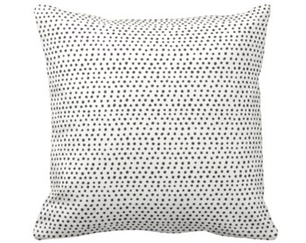 """OUTDOOR Allover Dots Throw Pillow or Cover, Black/Ivory Print 14, 16, 18, 20, 26"""" Sq Pillows/Covers, Gray/Ebony/Off-White Scatter Geometric"""