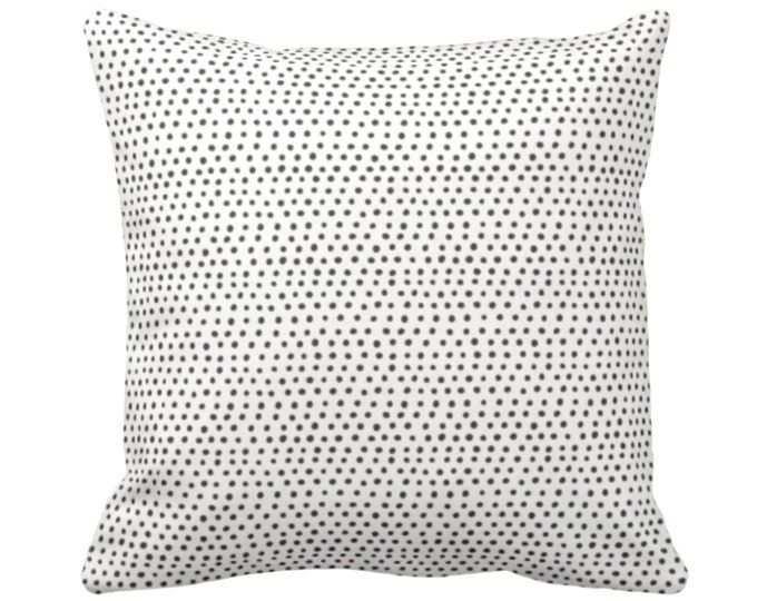 "OUTDOOR Allover Dots Throw Pillow or Cover, Black/Ivory Print 14, 16, 18, 20, 26"" Sq Pillows/Covers, Gray/Ebony/Off-White Scatter Geometric"