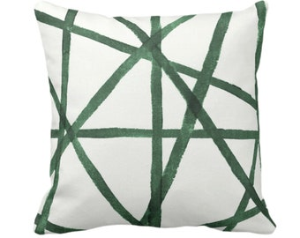 """Hand Painted Lines Throw Pillow or Cover, Kale & White 14, 16, 18, 20 or 26"""" Sq Pillows or Covers, Channels/Stripes Print Green Abstract Art"""