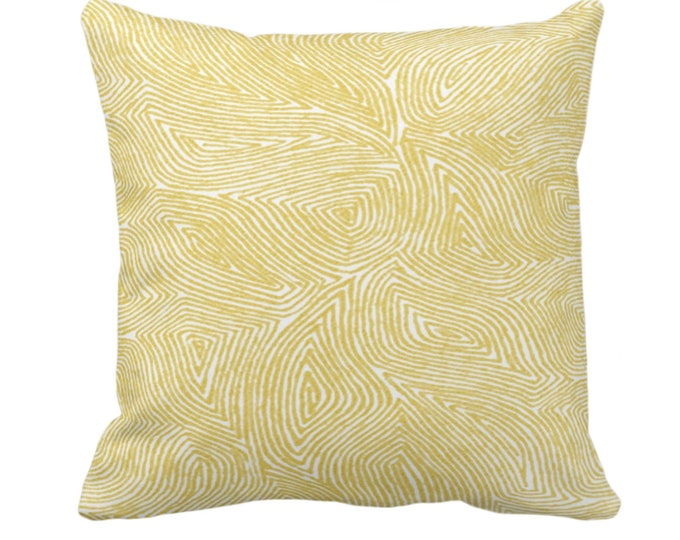 "OUTDOOR Sulcata Geo Throw Pillow or Cover, Citron Yellow/White 14, 16, 18, 20, 26"" Sq Pillows/Covers Abstract Geometric/Lines/Tribal Print"