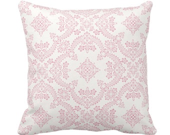 """Priano Tile Print Throw Pillow or Cover, Pink/White 14, 16, 18, 20 or 26"""" Sq Pillows or Covers, Bright Floral/Geometric/Trellis Pattern"""