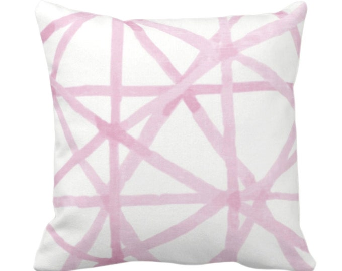 """Painted Lines Throw Pillow or Cover, White/Pink 14, 16, 18, 20, 26"""" Sq Pillows/Covers, Pinks Modern/Starburst/Geometric/Geo/Abstract Print"""