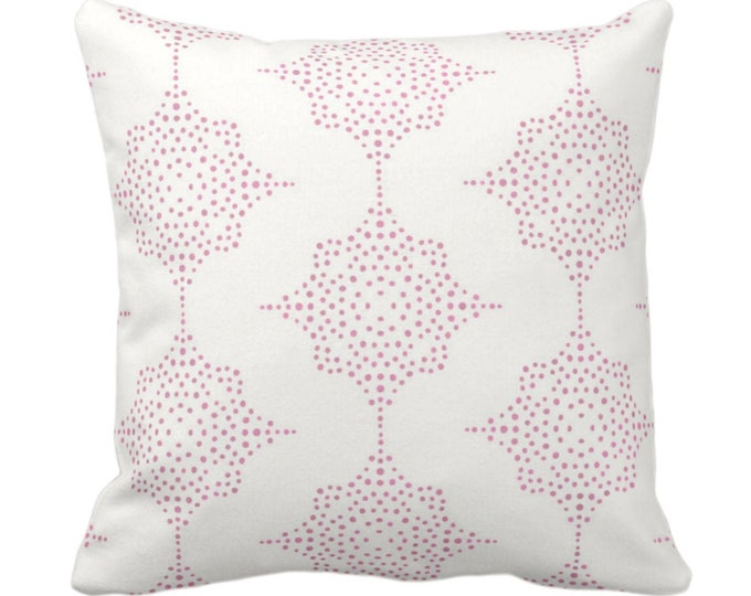 """READY 2 SHIP Block Print Stars Throw Pillow or Cover, Pink & Ivory 14"""" Sq Pillows or Covers, Wood/Blockprint/Boho/Geometric/Star Pattern"""