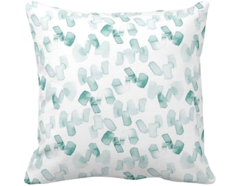 """Watercolor Confetti Abstract Throw Pillow or Cover, Lagoon/White 14, 16, 18, 20, 26"""" Sq Pillows or Covers, Hand-Dyed Print, Dusty Blue/Green"""