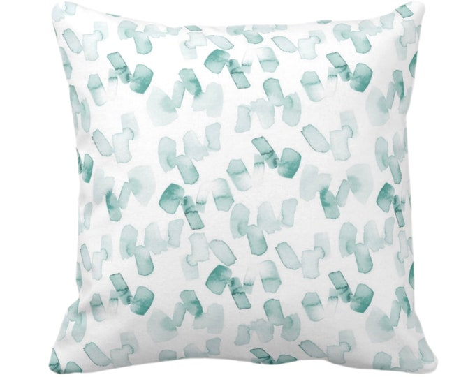 "Watercolor Confetti Abstract Throw Pillow or Cover, Lagoon/White 14, 16, 18, 20, 26"" Sq Pillows or Covers, Hand-Dyed Print, Dusty Blue/Green"