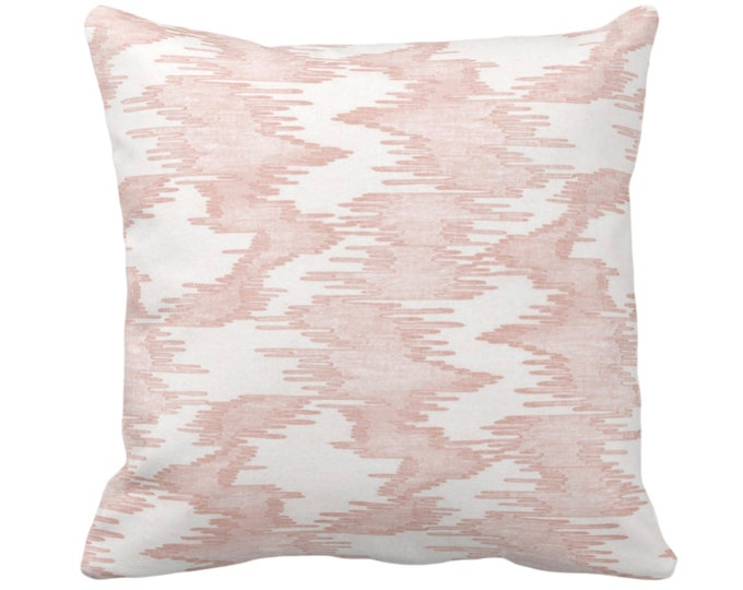 "OUTDOOR Ikat Print Throw Pillow or Cover, Salmon/White 14, 16, 18, 20, 26"" Sq Pillows/Covers, Pink Abstract Painted Modern/Geometric/Boho"