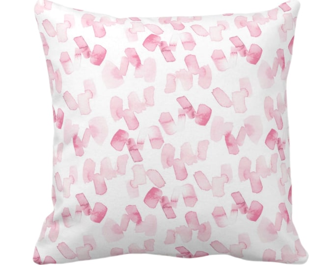 """OUTDOOR Watercolor Confetti Abstract Throw Pillow/Cover, Pink/White 14, 16, 18, 20, 26"""" Sq Pillows/Covers, Minimal/Modern Painted Art Print"""