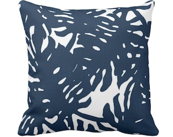 "OUTDOOR Palm Silhouette Throw Pillow or Cover Navy/White 14, 16, 18, 20 or 26"" Sq Pillow Covers Tropical/Leaf/Leaves/Palms Print/Pattern"