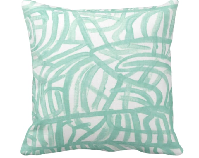 """OUTDOOR Avant Throw Pillow/Cover, White/Aegean 14, 16, 18, 20, 26"""" Sq Pillows/Covers Aloe/Mint Green Painted Abstract Modern/Geometric Print"""