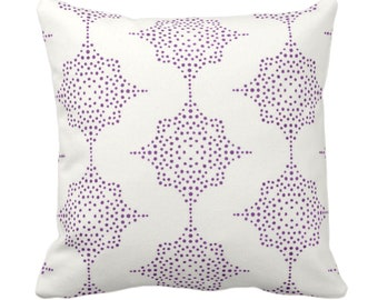 "Block Print Stars Throw Pillow or Cover, Purple & Ivory 14, 16, 18, 20, 26"" Sq Pillows/Covers, Wood/Blockprint/Boho/Geometric/Star Pattern"