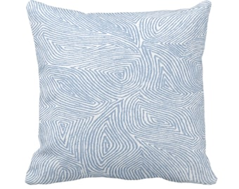 "Sulcata Geo Throw Pillow or Cover, Sky Blue & White 14, 16, 18, 20, 26"" Sq Pillows/Covers, Abstract Geometric/Tribal/Lines/Wavy/Boho Pattern"