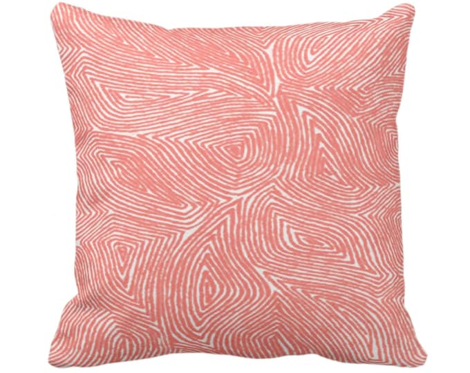 """Sulcata Geo Throw Pillow or Cover, Living Coral/White 14, 16, 18, 20, 26"""" Sq Pillows/Covers, Abstract Geometric/Tribal/Lines/Boho Pattern"""
