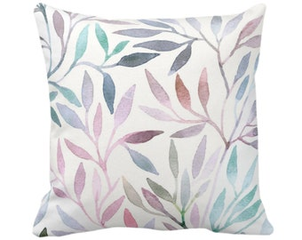 """Watercolor Stems Throw Pillow or Cover, Multi-Colored Pastels Organic Pattern 14, 16, 18, 20, 26"""" Square Pillows/Covers, Purple/Pink/Blue"""