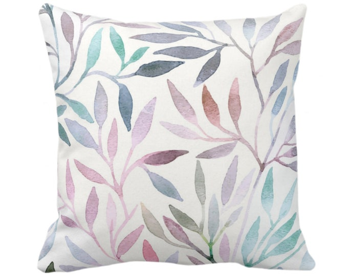"Watercolor Stems Throw Pillow or Cover, Multi-Colored Pastels Organic Pattern 14, 16, 18, 20, 26"" Square Pillows/Covers, Purple/Pink/Blue"
