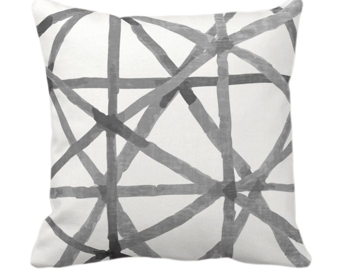 "OUTDOOR Painted Lines Throw Pillow or Cover, White/Charcoal 14, 16, 18, 20 or 26"" Sq Pillows/Covers, Black/Gray Modern/Lines/Geometric Print"