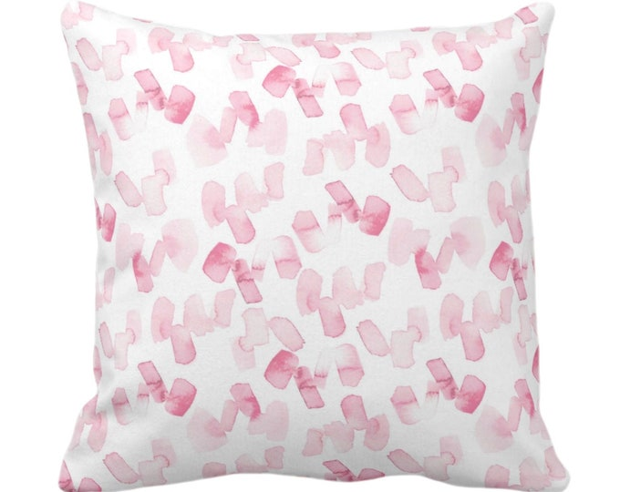 """Watercolor Confetti Abstract Throw Pillow or Cover, Pink/White 14, 16, 18, 20, 26"""" Sq Pillows/Covers, Modern/Minimal Hand-Dyed Print, Bright"""