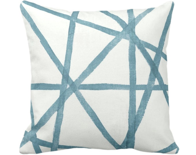 """Hand-Painted Lines Throw Pillow or Cover, Sea/White 14, 16, 18, 20, 26"""" Sq Pillows/Covers, Light Teal/Blue Channels/Stripes/Lines/Print"""