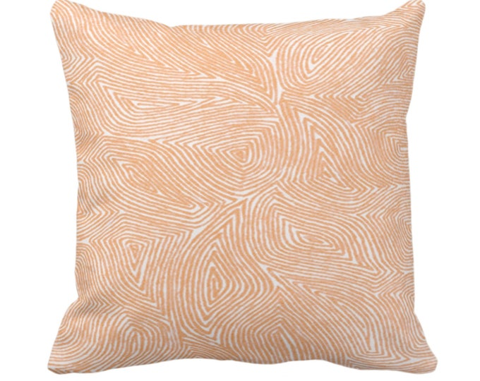 """Sulcata Geo Throw Pillow or Cover, Terracotta/White 14, 16, 18, 20, 26"""" Sq Pillows/Covers, Abstract Geometric/Tribal/Lines/Wavy/Boho Pattern"""